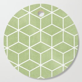 Lime Green and White - Geometric Textured Cube Design Cutting Board