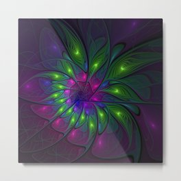 Fluorescent Abstract Fractal Art Metal Print