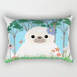 Super cute white two toed Sloth Rectangular Pillow