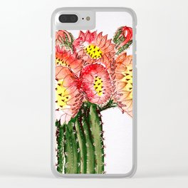 Blooming Cacti Clear iPhone Case