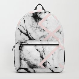 White Marble Concrete Look Blush Pink Geometric Squares Backpack