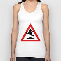 snowboard Tank Tops featuring Snowboard road sign by Komrod