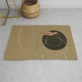 Duality of Mind (pt.2) Contemporary Figurative Nude Female Woman Tan Brown Black Geometric Art Rug
