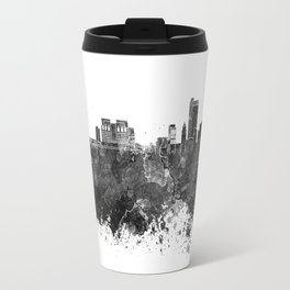 Mobile skyline in black watercolor Travel Mug
