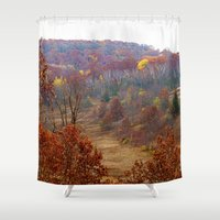 wisconsin Shower Curtains featuring Fall Forest in Wisconsin by Bella Mahri-PhotoArt By Tina