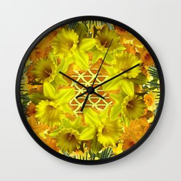 GOLDEN YELLOW SPRING DAFFODILS PATTERN GARDEN Wall Clock