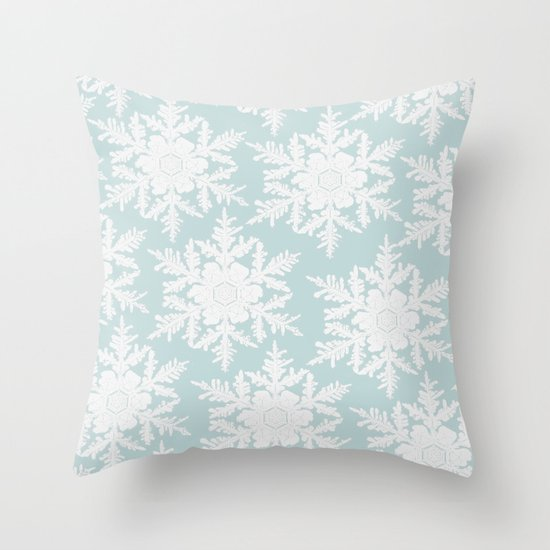 Wedgewood Blue Throw Pillows : Wedgewood Blue Winter Christmas Snowflake Design Throw Pillow by Secretgardenphotography [Nicola ...