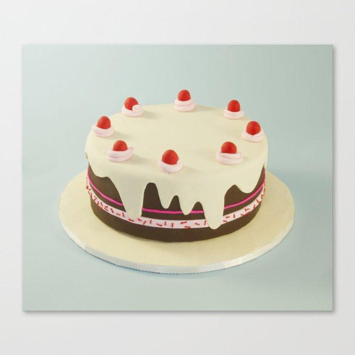 Retro Birthday Cake Canvas Print