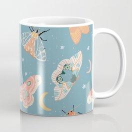 Moth & Moons Pattern - Dusty Teal Blue Coffee Mug