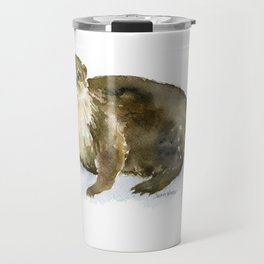 River Otter Watercolor Travel Mug