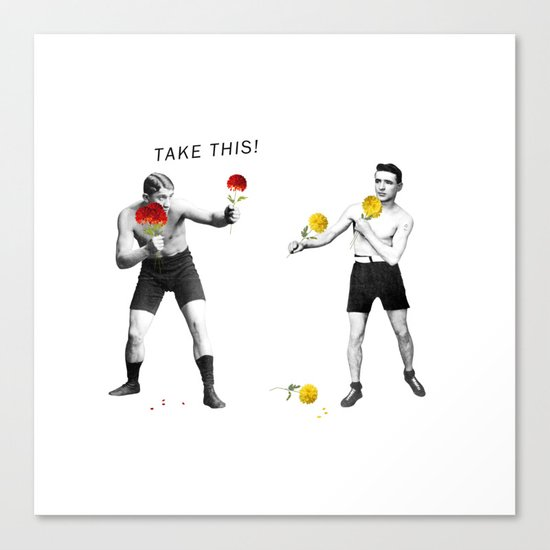 Floral fight - humor Canvas Print