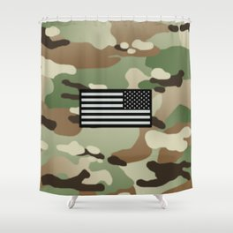 Woodland Camouflage & Black Flag Shower Curtain