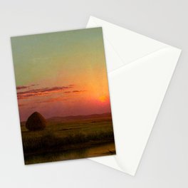 Pink Sunset over Scituate, Rhode Island Marches Landscape by Martin Johnson Heade Stationery Cards