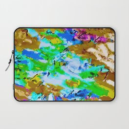 psychedelic splash painting abstract texture in brown green blue pink Laptop Sleeve