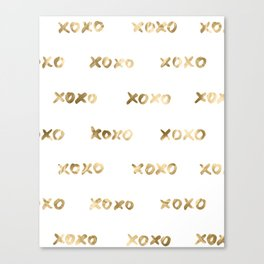 XOXO Love Me Gold on White Pattern II Canvas Print