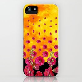SURREAL HOLLYHOCKS RISING GOLDEN MOON PATTERN iPhone Case