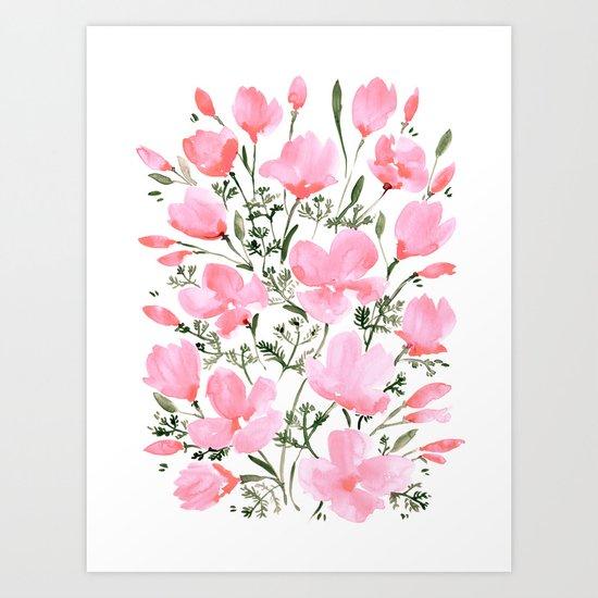 Pink watercolor California poppies by blursbyaishop