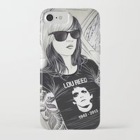 lou reed iPhone & iPod Cases featuring Lou Reed by IvándelgadoART