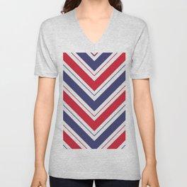 Patriotic Red White and Blue Chevron Stripes Unisex V-Neck