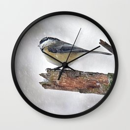 Chickadee Versus Winter Storm Stella Wall Clock