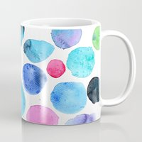 craftberrybush Mugs featuring watercolor blobs by craftberrybush