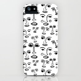 Funky Faces in White iPhone Case