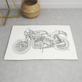 NORTON COMMANDO 961 CAFE RACER 2011, original artwork Rug