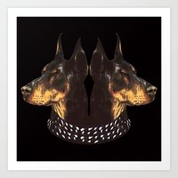 givenchy Art Prints featuring 2 Dogs Givenchy by cvrcak