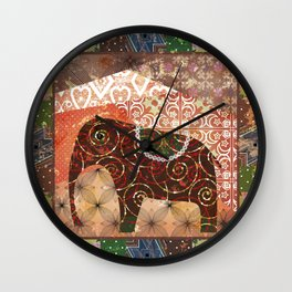 Digital illustration of an Elephant . Wall Clock