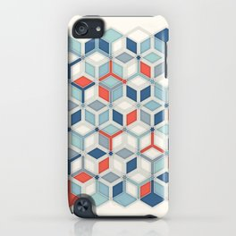 Soft Red, White & Blue Hexagon Pattern Play iPhone Case