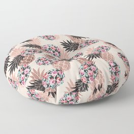 Pretty Pink Rose Gold Floral Pineapple Fruit Pattern Floor Pillow
