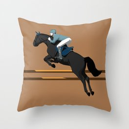 Jumping Black Horse and a Man Throw Pillow