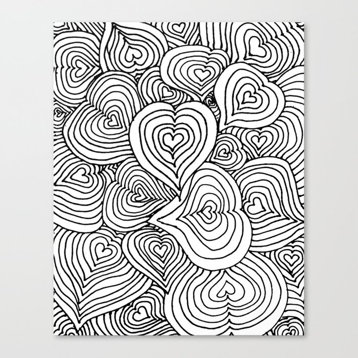 heart zendoodle artwork canvas print by hippiechildterra society6