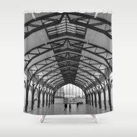 hamburger Shower Curtains featuring Hamburger Bahnhof by Gabrielle Simon