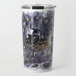 Black cat, magic illustration Travel Mug