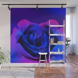 Blue Neon Rose Wall Mural