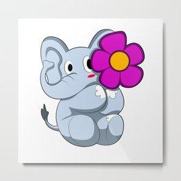 Elephant with Flower Metal Print