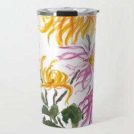 yellow and purple chrysanthemum watercolor Travel Mug