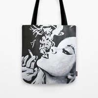 smoking Tote Bags featuring Smoking by Fallon Chase
