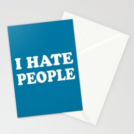 I Hate People - Blue and White Stationery Cards