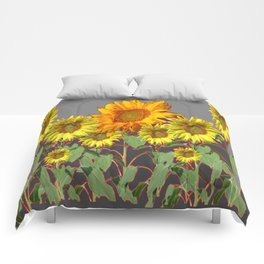 SUNFLOWER FIELD in CHARCOAL GREYS Comforters