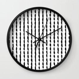 Vertical Black Ink Dash Lines Wall Clock