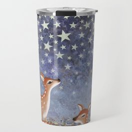 whitetail fawns under the stars Travel Mug