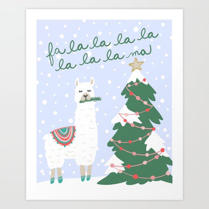 Christmas Llama.Fa La La La Ma Christmas Llama Art Print By Riveroakstudio