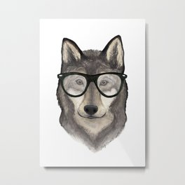 Hipster Wolf Metal Print