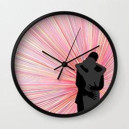 Red and Black Radiant Romantic Illustration with Embracing Silhouettes Wall Clock