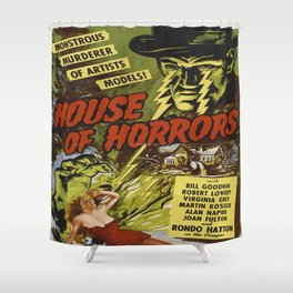 House of Horrors, vintage horror movie poster Shower Curtain