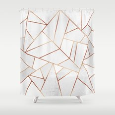 White Stone & Copper Lines Shower Curtain