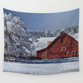 Red On White Wall Tapestry