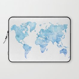 Light blue watercolor world map Laptop Sleeve